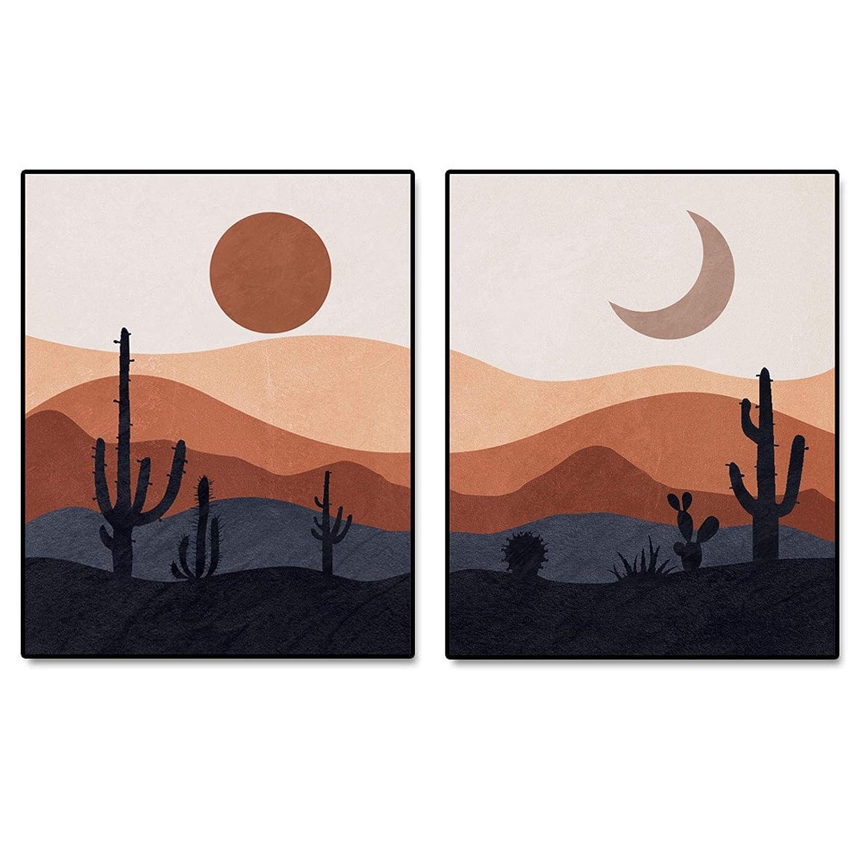 Mid Century Modern Desert Print, Abstract Landscape Wall Art, Mountain  Decor, Cactus Art Print, Desert Art, Set of 20 Prints   20x20 inch   No Frame