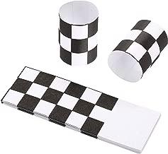 Gmark Paper Napkin Band Box of 500, Paper napkin rings self adhesive (Black White Grid)