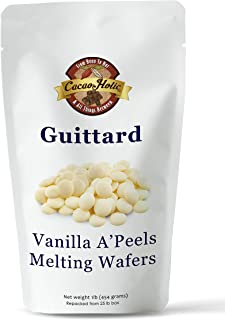 Guittard A'Peels Vanilla White Chocolate Wafers Melting Chocolate | Cacaoholic Resealable Stand Up Pouch | 14 Ounce