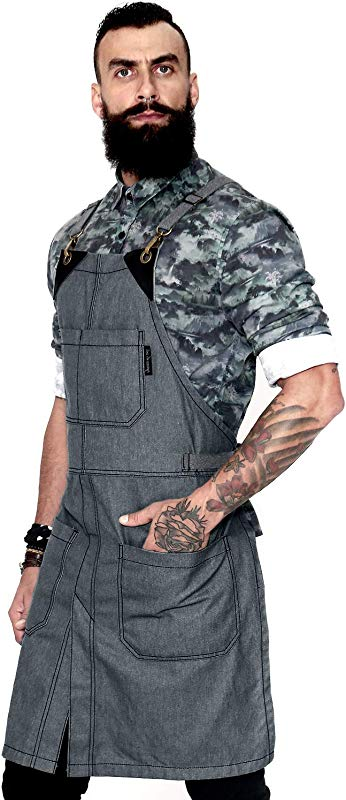 Under NY Sky Cross Back Slate Gray Apron Durable Denim With Leather Reinforcement And Split Leg Adjustable For Men And Women Pro Chef Tattoo Baker Barista Bartender Stylist Server Aprons