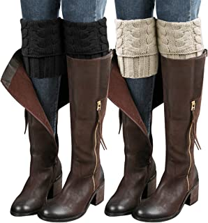 2 Pairs Womens Boot Cuffs Winter Short Cable Knit Leg Warmers Boot Socks Gifts