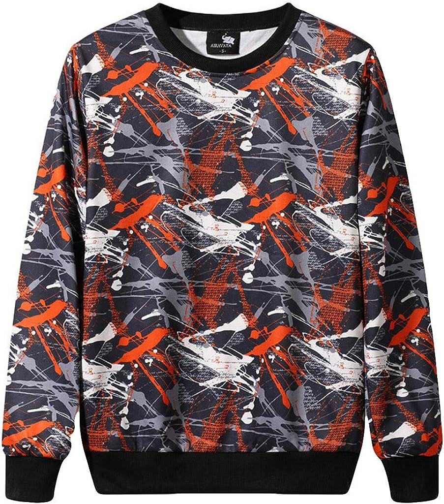 Forthery Mens Shirts Long Sleeve Camouflage Long Sleeve Sweatshirt Tops