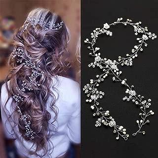 Brishow Bride Wedding Headband Crystal Pearl Beaded Hair Vine Rhinestone Bridal Hair Accessories for Women and Girls (Silver)