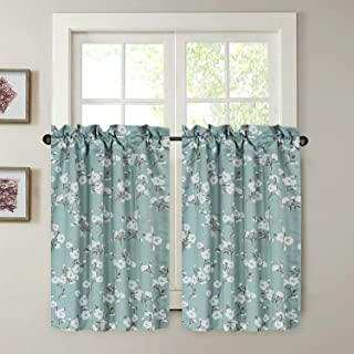 H.VERSAILTEX Blackout Energy Saving Ultra Soft Casual Kitchen Curtains, Rod Pocket Window Curtain Tiers for Café, Bath, Laundry, Bedroom - Aqua Floral Pattern - (58