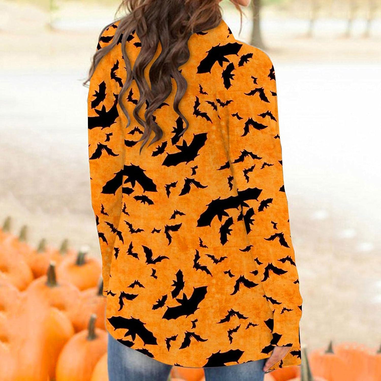 AODONG Halloween Cardigan for Women,Womens Graphic Coat Long Sleeve Pumpkin Print Open Front Lightweight Knitt Cardigans