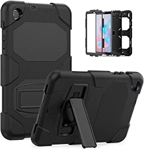 Galaxy Tab A 8.4 Case 2020, Bingcok Heavy Duty Rugged Full-Body Hybrid Shockproof Drop Protection Cover with Kickstand for Samsung Galaxy Tab A 8.4 2020 Model SM-T307 (Black)