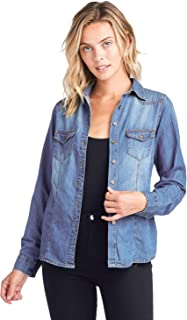 Womens Chambray Denim Shirt Blouse Denim Tops