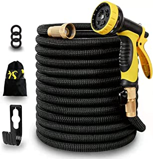 100ft Expandable Garden Water Hose,3750D Natural Latex Core,Super Strong Brass Connectors,10 Function Spray Nozzle,Super Strength Fabric,Flexible Garden Hose For Water Plants,Shower Dogs,Wash Cars