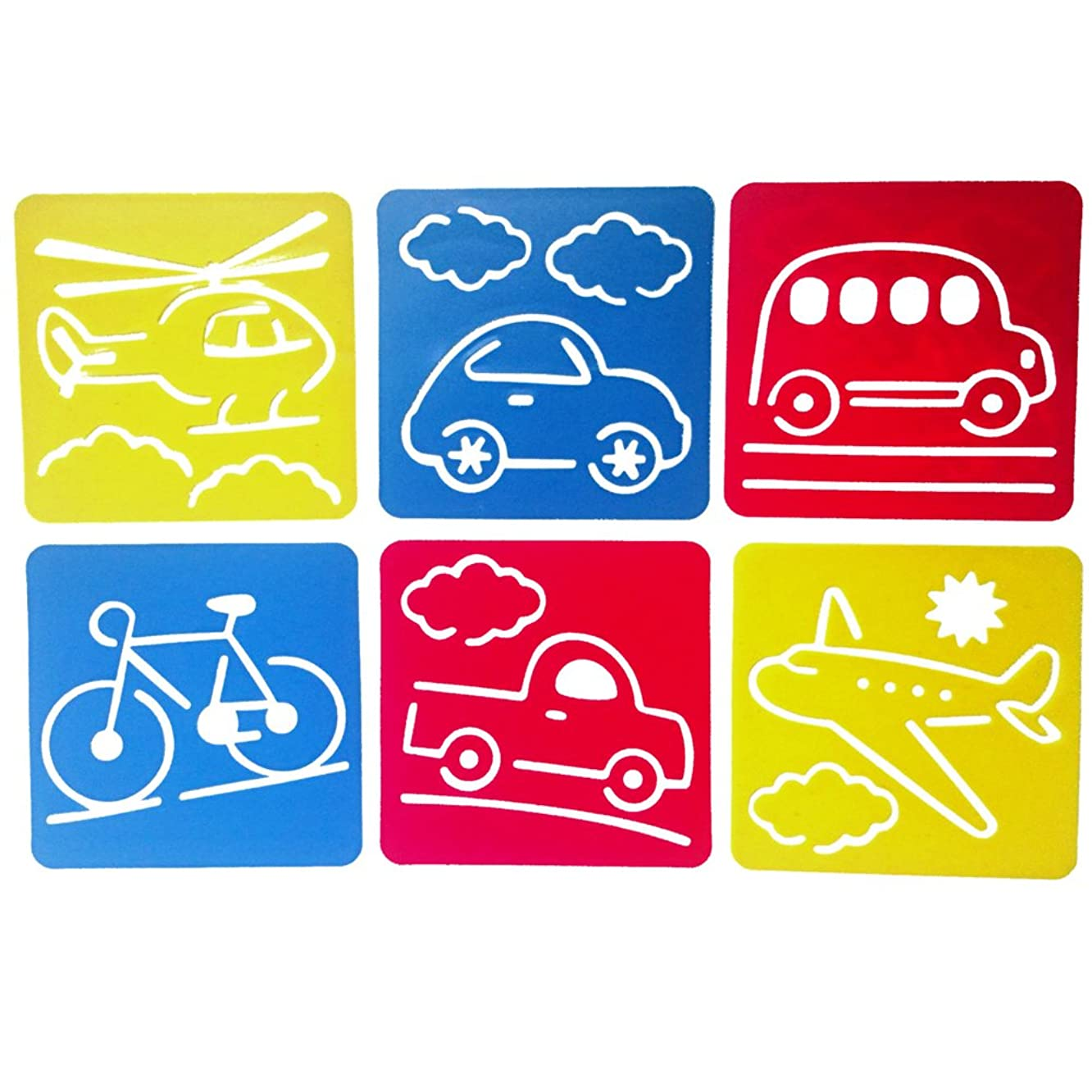 Mike Home 6 Piece Assorted Color Drawing Painting Stencils Templates for Kids (Traffic tools)