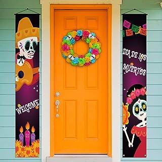 Rainlemon Cartel de bienvenida Dia De Los Muertos para Porch Banner México Día de los Muertos Sugar Skull Decoración para ...