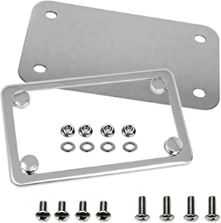 LFPartS Motorcycle Stainless Steel License Plate Frame + Motorcycle License Backing Plate Set