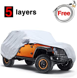 KAKIT 5 Layers Jeep Covers Waterproof Windproof All Weather Protection Jeep Wrangler Cover for CJ,YJ, TJ & JK 2 Door 1987-2017 with Windproof Ribbon & Anti-theft Lock