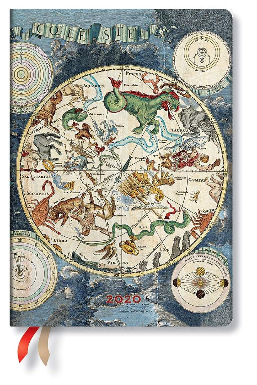 式悩む争うPaperblanks 手帳 2020英語版 DE6169-4 十二星座(ミディ)ディエム 2020 Celestial Planisphere Midi DAY 正規輸入品