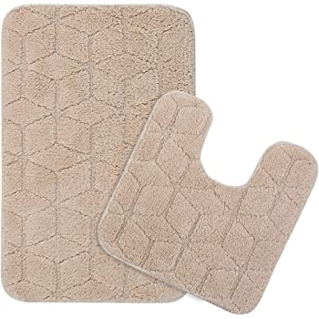 Saral Home Soft Cotton Anti Slip Bathmat with Contour Set, 50x80cm (Beige)