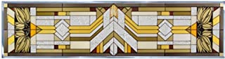 MISSION Painted Glass Window Transom 42 x 10.25 CRAFTSMAN Architectural Suncatcher