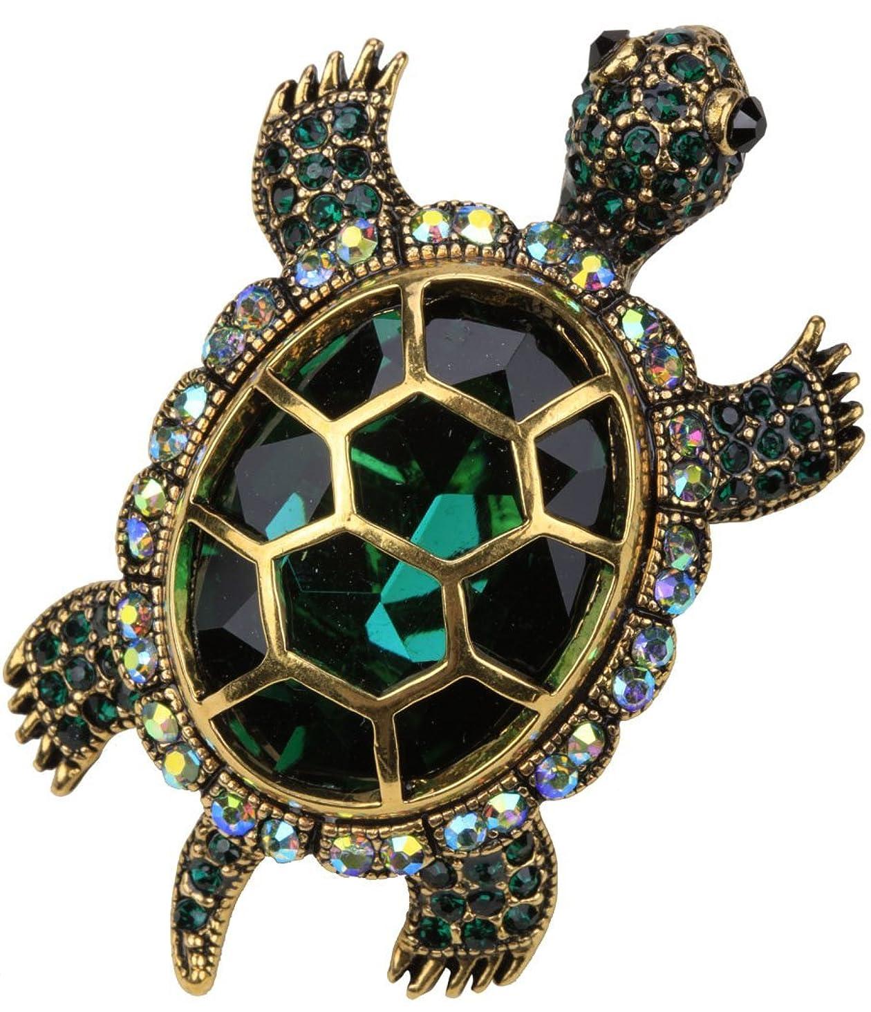 YACQ Women's Crystal Big Turtle Pin Brooch Pendant Halloween Costume Jewelry Accessories