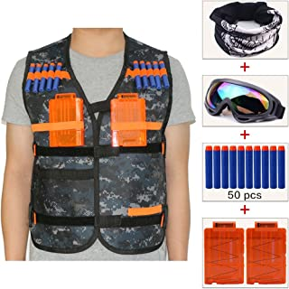 COSORO Kids Camouflage Tactical Vest Jacket Kit (comes with Face Mask + Windproof Protective Goggles + 50pcs Darts Bullets + 2pcs 5-dart Quick Reload Clip) for Kids Nerf Guns N-strike Elite Series