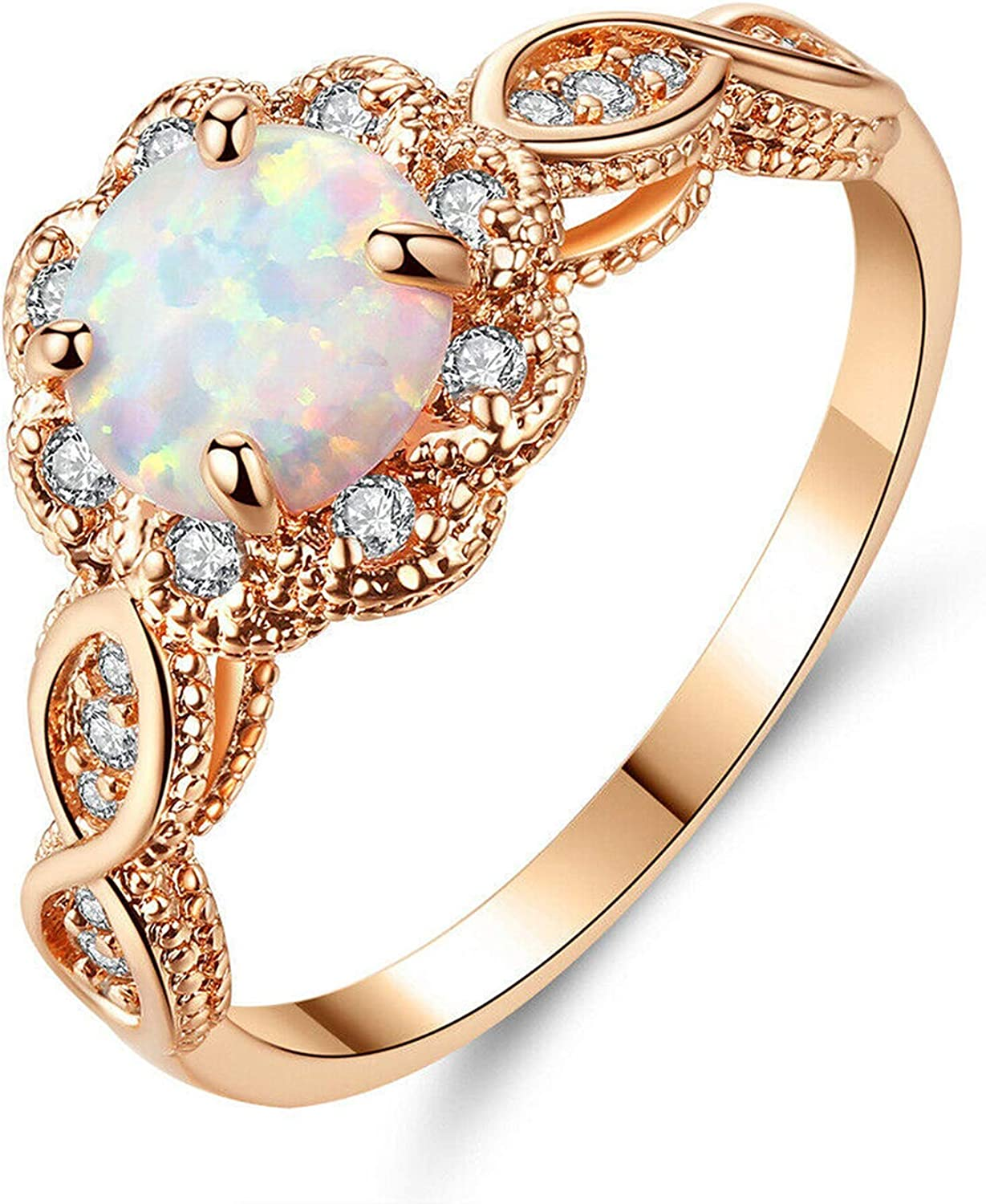 CiNily 18K Gold Plated Opal Ring- White Fire Opal & Amethyst & Cubic Zirconia Women Jewelry Gemstone Engagement Anniversary Ring Size 5-12