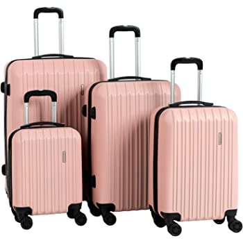 """Murtisol Travel 4 Pieces ABS Luggage Sets Hardside Spinner Lightweight Durable Spinner Suitcase 16"""" 20"""" 24"""" 28"""", 4PCS Rose Gold"""
