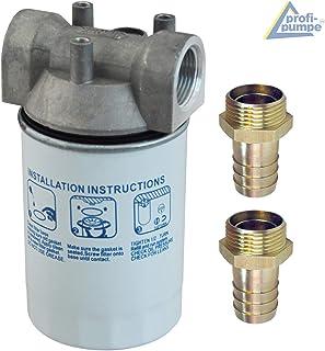 Kraftstofffilter, Dieselfilter mit austauschbarem Filter Einsatz für Dieselpumpen Kraftstoffpumpe Heizölpumpen Biodiesel Umfüllpumpen plus Messing Schlauchtülle 1' AG