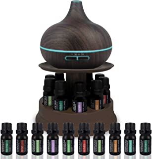 Ultimate Aromatherapy Ultrasonic 300ml Diffuser & Top 10 Therapeutic Grade Essential Oils Set w/Rotating Display Stand - 4 Timer & 7 Ambient Light Settings