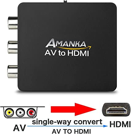 AMANKA RCA Composito AV a HDMI Converter 1080P Adattatore Mini Box per TV PC PS3 Xbox STB DVD con Cavo di Ricarica USB, Nero