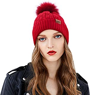 Winter Cable Knit Beanie Hat with Faux Fur Pom Pom Fleece Lined Bobble Hat Ski Cap for Women