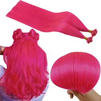 Runature U Tip Hair Extensions Real Human Hair Color Hot Pink 16 Inch Fusions Hair Extensions 25 Strands 20G Prebonded Human Hair Extentions