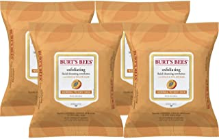 Burt's Bees Sensitive Facial Cleansing Towelettes with Exfoliating Peach and Willow Bark - 25 Count (Pack of 4)