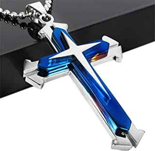 Brave Tour Men Titanium Steel Cross Necklace (Blue)