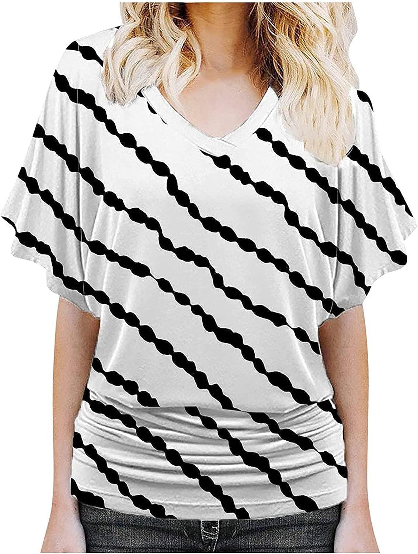 Sale price Summer Women Memphis Mall Stripe Tshirt Tops Trendy Tu Vneck Loose Casual Fit