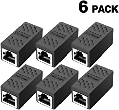RJ45 Coupler, in Line Coupler Cat7/Cat6/Cat5e Ethernet Cable Extender Adapter Female to Female (6 Pack Black)