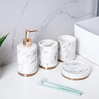 Schwänlein Ensemble de 4 accessoires de salle de bain en céramique, distributeur de savon, brosse de toilette, porte-savon...