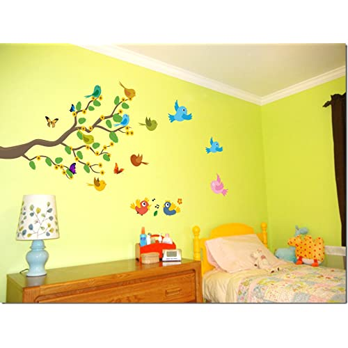 Decor Kafe Birds on Branch Wall Sticker Standard Size - 238cm X 114cm Color - Multicolor