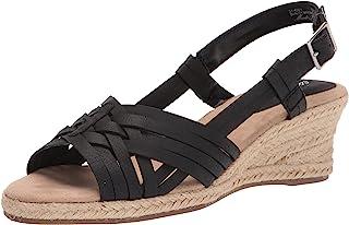 Easy Street Women's Wedge Sandal, Black, 6.5 Narrow