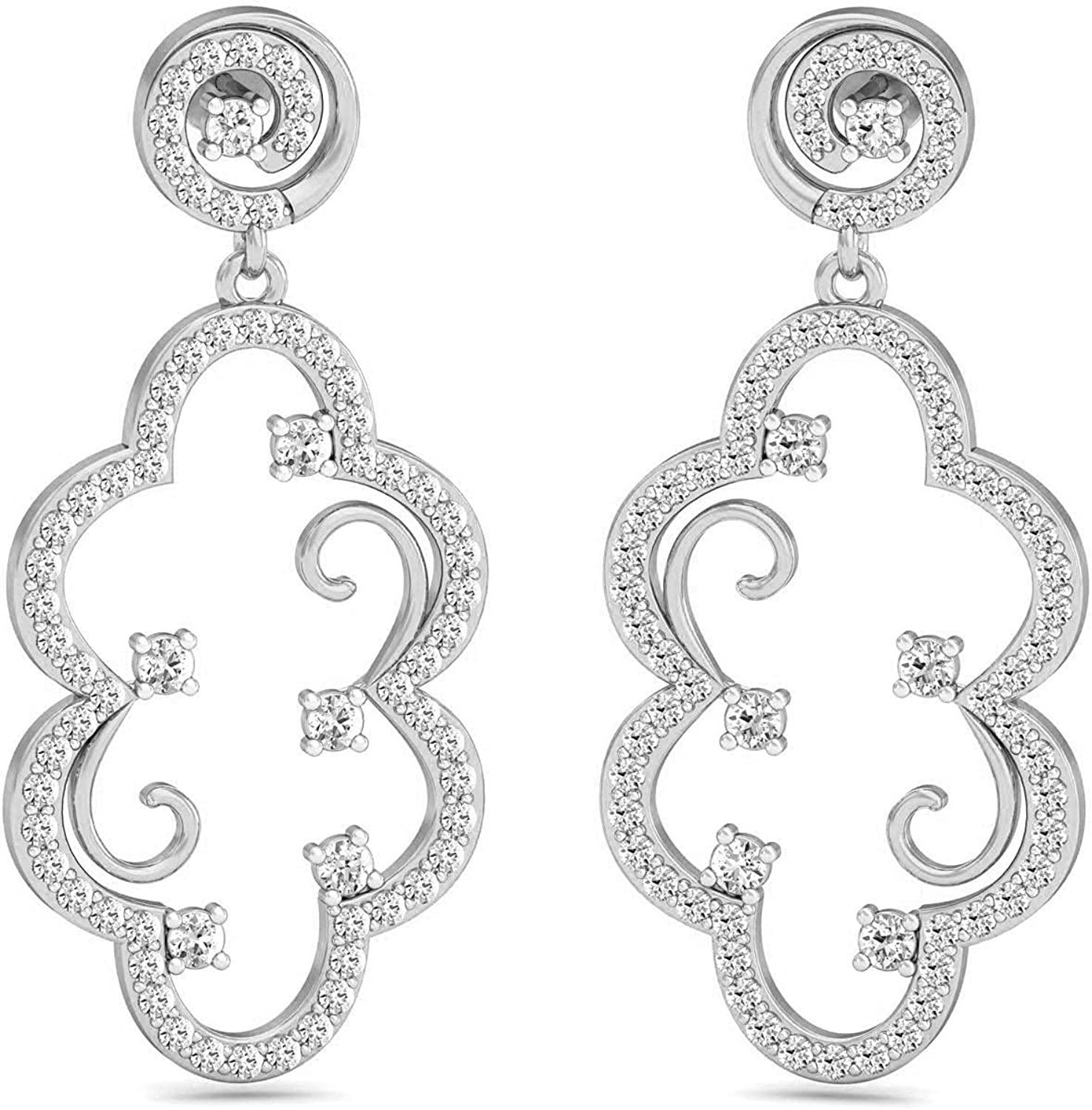 Certified 14K Gold Drop New popularity Earring in c Diamond Round Natural Atlanta Mall 1.66