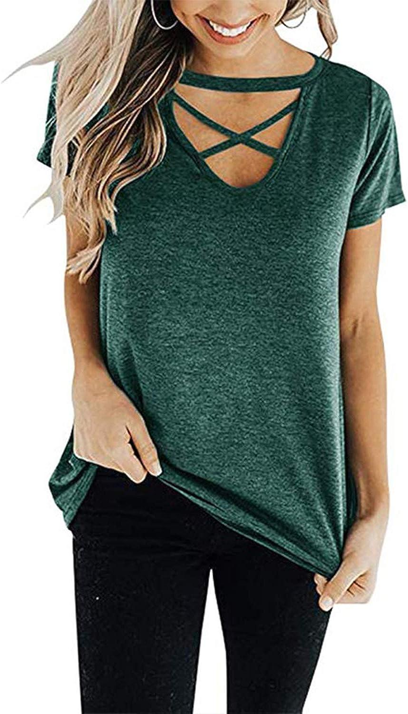 DKKK Women's Cross V Neck Short Sleeve Casual Loose Fit Tunic Shirt Blouse Tops