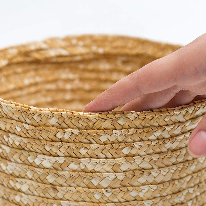 perfecthome Cestello Portaoggetti in Paglia di Grano Cestello Rustico Innovativo Naturale con Coperchio per Giocattoli di Abbigliamento da Bagno di Casa Safety