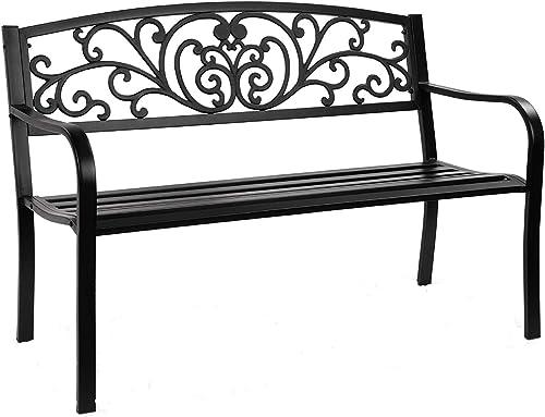 "Giantex 50"" Patio Garden Bench, Loveseats Park Yard Furnitur, Black Steel Cast Iron Frame Chair, Metal Bench Outdoor with Floral Scroll Pattern"