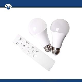 SHD - Juego de 2 bombillas LED E27 con mando a distancia, bombilla con cambio de color 2700 – 5000 K, función de luz nocturna, 9 W, 200 – 800 lúmenes, intensidad regulable