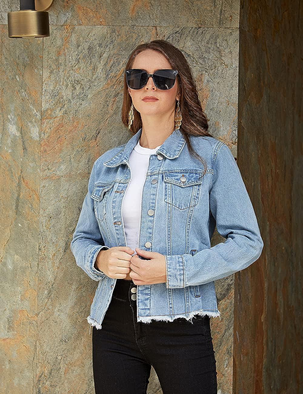 Dilgul Women's Denim Jacket Casual Long Sleeve Frayed Washed Button Up Jean Jacket