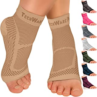TechWare Pro Ankle Brace Compression Sleeve – Relieves Achilles Tendonitis, Joint..