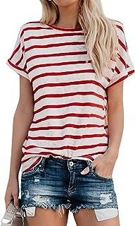 ZJP Women Crew Neck Roll up Sleeve Stripe Tops Shirt Short Sleeve Casual Tee Top