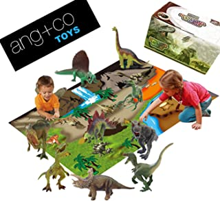 12 Pc Dinosaur Toys Set Figures w/ Playmat. Stem Learning Educational toy for boys, girls, toddlers and Kids Dino Figurines including Tyrannosaurus Rex, Velociraptor, to create Jurassic Dinosaur World