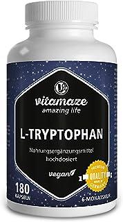 Vitamaze® L-Triptófano Pura 500mg por Cápsula. 180 Cápsulas Vegano por 6 Meses. Aminoácido Esencial Puro Naturalmente Fermentado. sin Aditivos Innecesarios. Calidad Alemana
