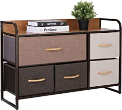 ORAF 5-Drawer Dresser, Sturdy Steel Frame, Wooden Top, Easy Pull Fabric Bins, Storage Tower Organizer Unit for Bedroom, Ha...