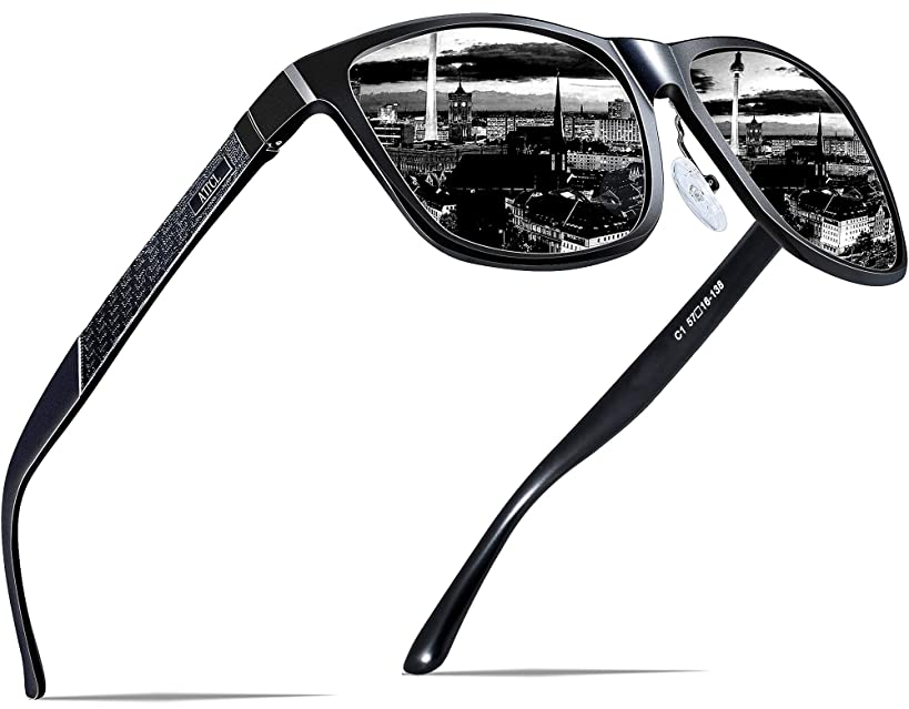 ATTCL Men's Retro Metal Frame Driving Polarized Sunglasses Al-Mg Metal Frame Ultra Light
