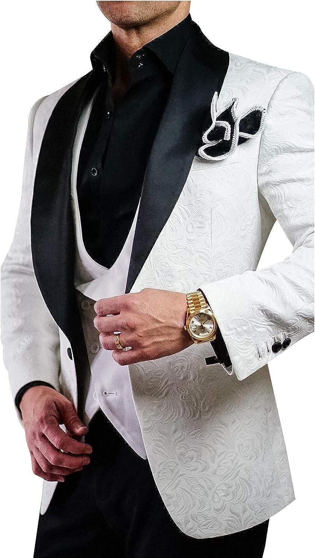 QZI Men's Suit Jacquard Shawl Lapel Pieces Three Arlington Mall Set 55% OFF