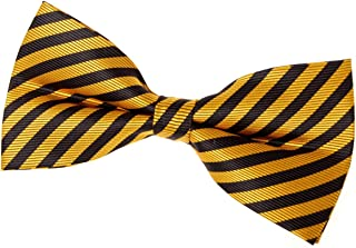 black and yellow striped bow tie