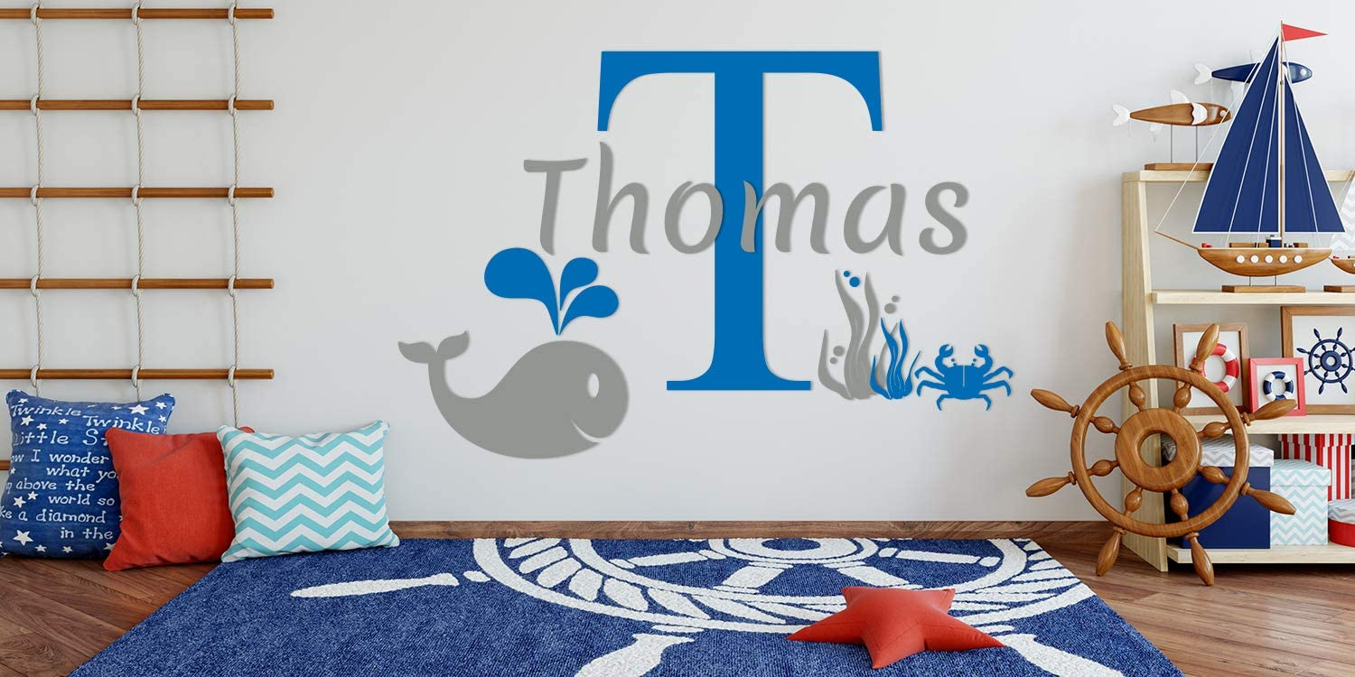 Custom Name /& Initial Starfish Whale Fishes Crab Mural Wall Decal Sticker For Home Interior Decoration Car Laptop Decoration 1041